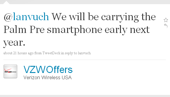 Verizon Palm Pre on Twitter